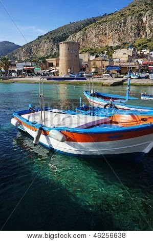 Fishing Wooden Boats At Mondello, Sicily