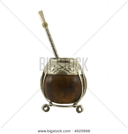 Argentinean Tea, Yerba Maté, Calabash Cup Using A Metal Or Wood Decorative Straw & Filter Ca
