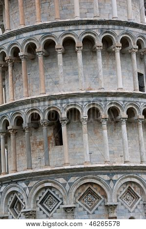 Detail Of Leaning Tower Of Pisa