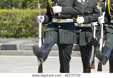 Kiev, Ukraine - May 28 :soldiers Of The Honor Guard During A Training Session, May 28, 2012 In Kiev,