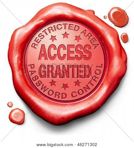 access granted entrance password accepted control safety and security restricted area members only red label icon or stamp