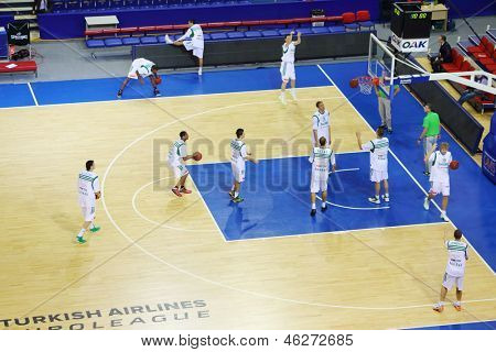 MOSCOW - SEP 29: Zalgiris team (Lithuania) trains before match in tournament for cup named Gomelsky in CSKA sports center, on Sep 29, 2012 in Moscow, Russia.