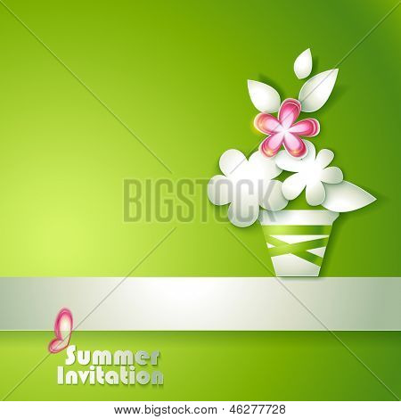 poster of Card with stylized flowers in pot