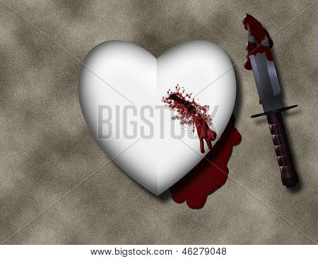 bleeding heart with bloody knife poster