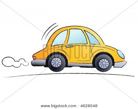Funny cartoon car isolated on white background - Vector poster