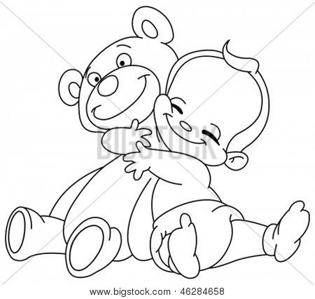 Outlined Cheerful baby hugging his teddy bear
