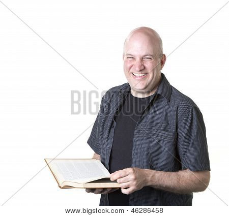 Happy smiling man with book