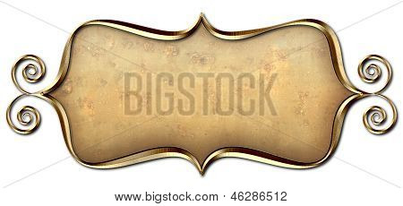 Curly Frame Gold Tag