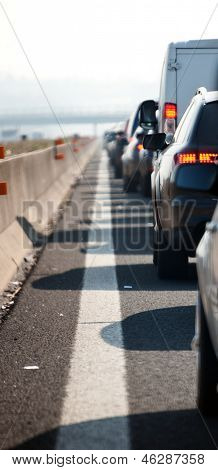 Queues Of Traffic On The Highway