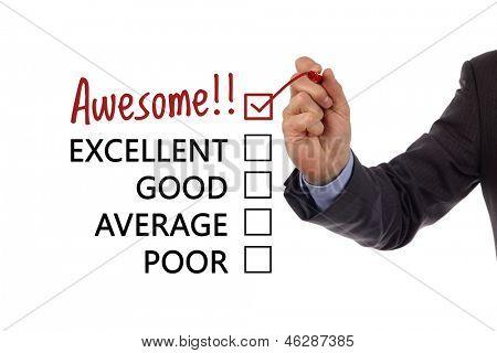 Tick in awesome Checkbox auf Kundenservice Kundenzufriedenheit Umfrage-Formular platziert