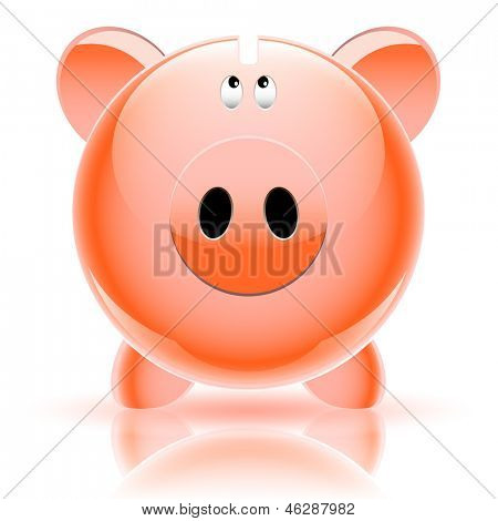 Pig piggy bank isolated on white background. poster
