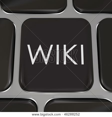 The word Wiki on a computer keyboard to illustrate a website or internet page where users can edit or write entries of information on subjects they have expertise in