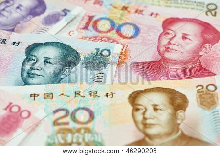 Set of chinese currency money yuan renminbi. Close-up poster