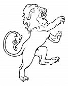 Illustration of a heraldic lion on its hind legs like those found on a crest emblem or coat of arms on a shield poster