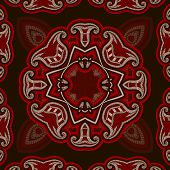 Patterned floor tile in oriental style. Seamless vector background in red and black colors. poster
