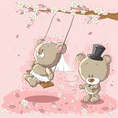 Wedding couple - swinging on a tree poster