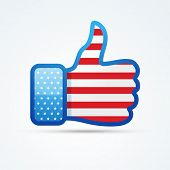 vector social thumb with american flag poster