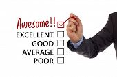 Tick placed in awesome checkbox on customer service satisfaction survey form poster