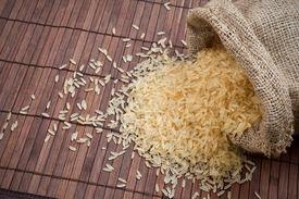 Rice In  Burlap Sack.