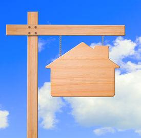 Real Estate Sign Sky Background.
