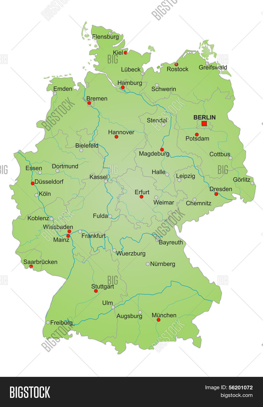stylized map of germany showing states rivers and big cities city names in german