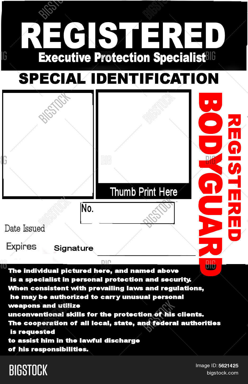 Bodyguard Id Badge Image & Photo (Free Trial)   Bigstock