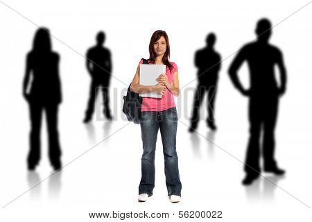 An attractive young student standing within several silhouettes of other persons. All on white background.