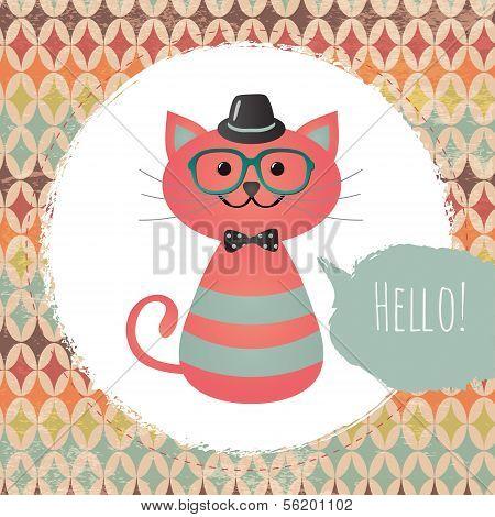 Hipster Cat In Textured Frame Design
