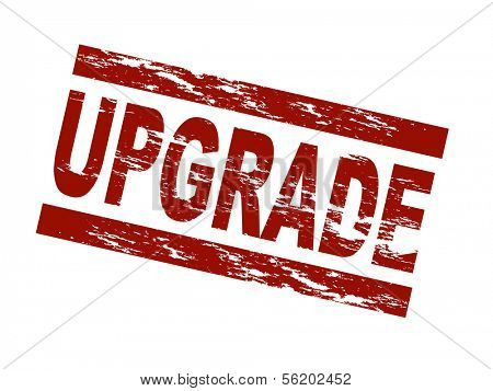 Stylized red stamp showing the term upgrade. All on white background.