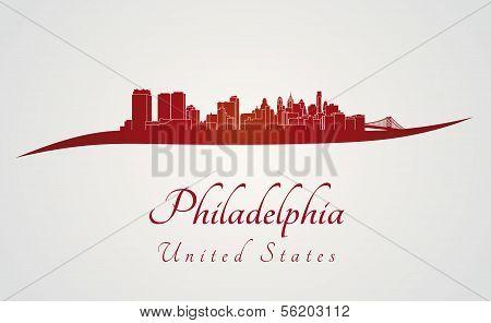 Philadelphia Skyline In Red