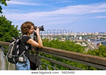 Girl Photographer Shooting Beautiful Scenery