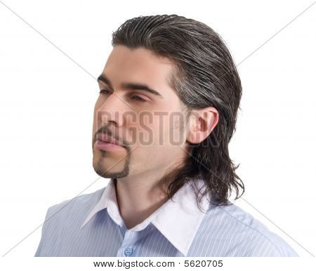 Young Handsome Male Profile Isolated White