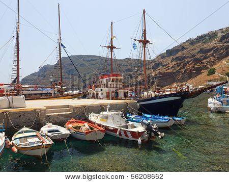 Harbour And Boats At Thirasia Santorini