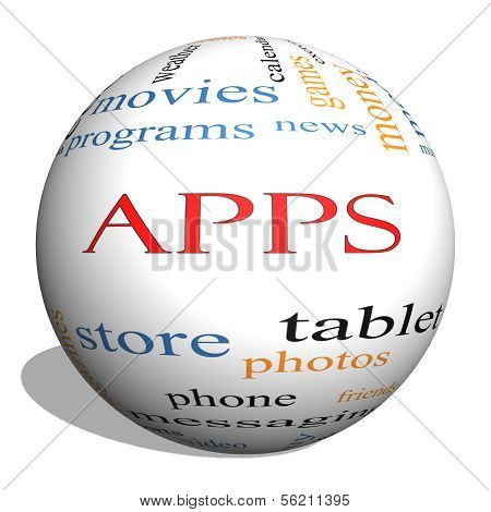 Apps 3D Sphere Word Cloud Concept