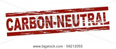 Stylized red stamp showing the term carbon-neutral. All on white background.