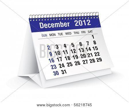 december 2012 desk calendar poster