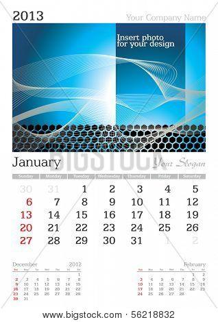 January 2013 A3 calendar - vector illustration