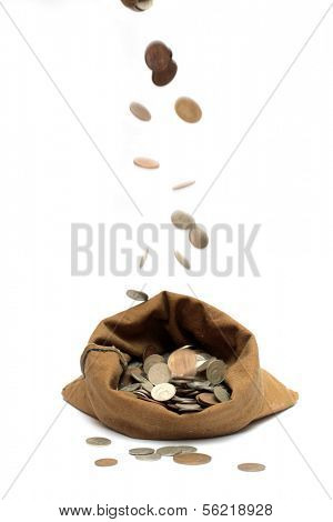 flying money coins, falling in bag