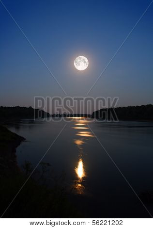 night moon and moonbeam in river