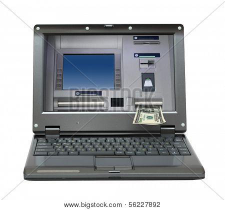 small laptop with cash dispense on screen