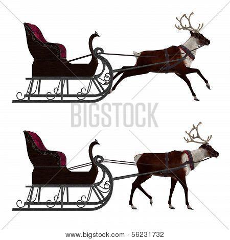 Reindeer With Sleigh