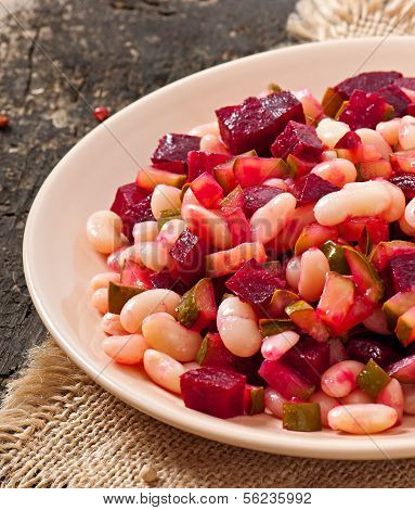 Traditional Russian salad of beetroot