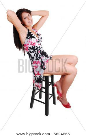 Woman Sitting On Chair.
