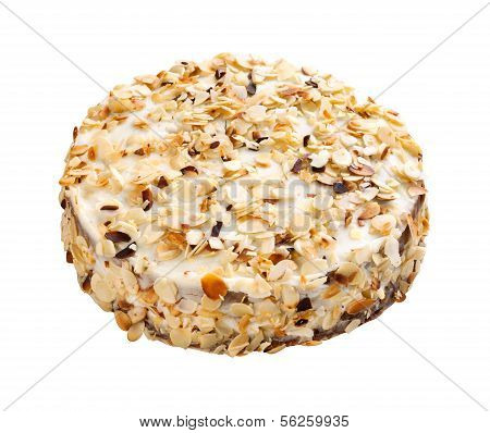 Almonds cake isolated on white