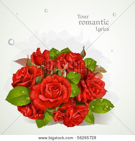 Bouquet of red roses with a field for your lyrics. Romantic bann
