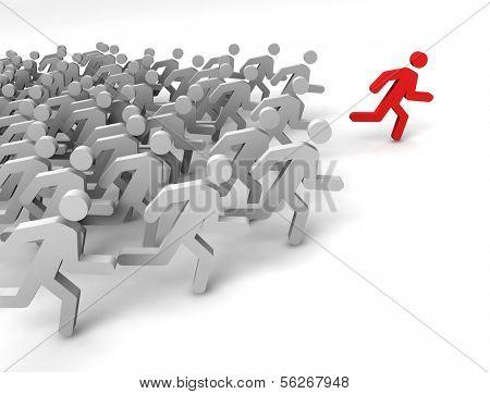 Leader of competition. Concept. 3d illustration.