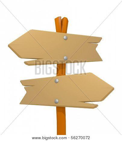 Wooden signpost. 3d illustration