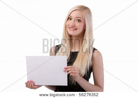 Smiling Woman Holding Blank Card.