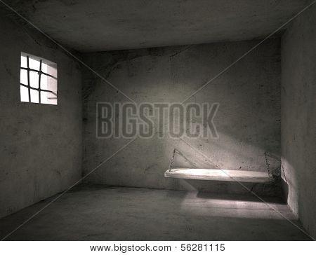 Prison. Old grunge interior. 3d illustration