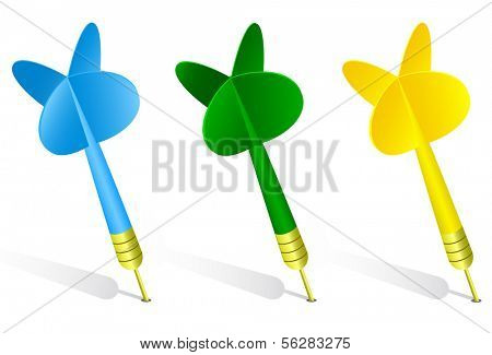 Vector illustration of three classic darts. All objects and details are isolated. White background color is easy to adjust/customize.